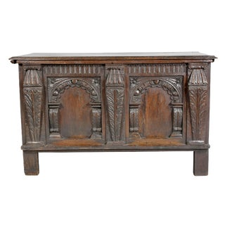 Charles I Carved Oak Coffer For Sale