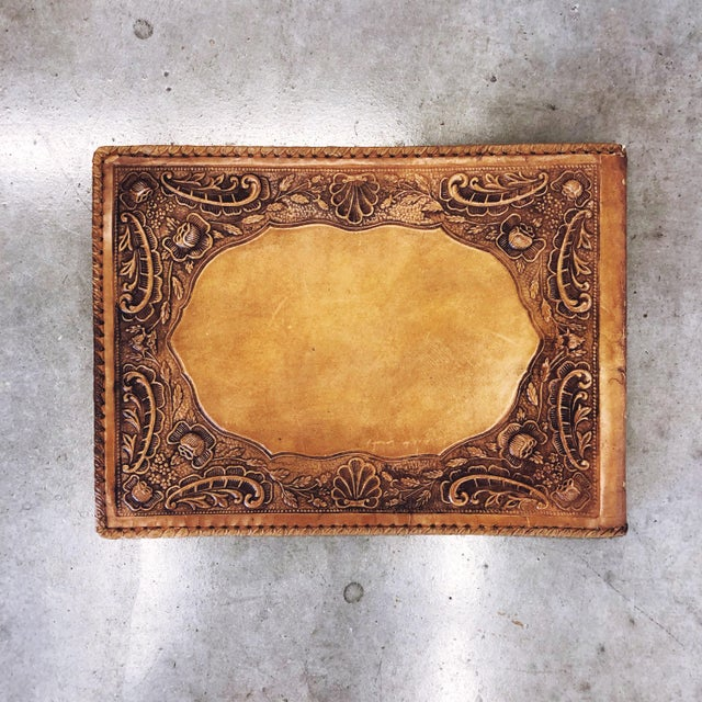 1930s Antique Tooled Leather Memory Book For Sale - Image 5 of 10