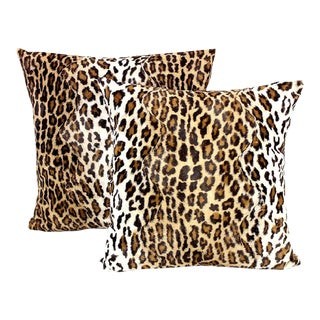Velvet Leopard Fur Cheetah Pillow Covers- a Pair For Sale