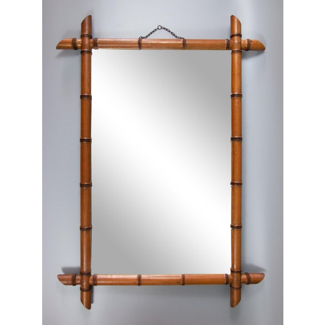 Brown Antique French Faux Bamboo Carved Mirror For Sale - Image 8 of 8