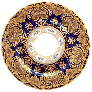 Early 20th Century Cobalt and Gilt Limoges Dinner Plates in Arabesque Design- Set of 12 For Sale
