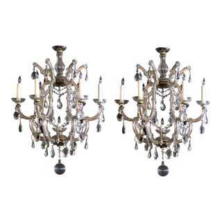 A Good Pair of Continental Maria Theresa Basket-Form Glass and Crystal 6-Light Chandeliers; Possibly Viennese For Sale
