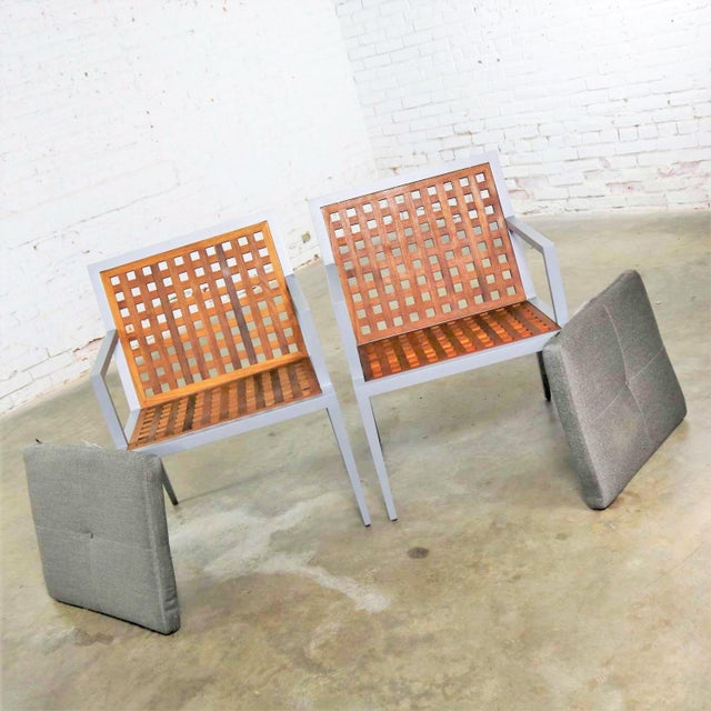 Pair of Aluminum and Teak Archetype Patio Chairs by Michael Vanderbyl for McGuire For Sale - Image 6 of 13
