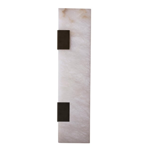 Modern Contemporary 003-2c Sconce in Blackened Brass and Alabaster by Orphan Work For Sale