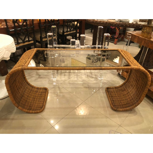 Vintage Scroll Natural Wicker Console Table For Sale - Image 12 of 13
