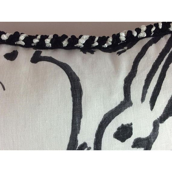 "Hunt Slonem ""Bunny Hutch"" in Black & White Pillows - a Pair - Image 3 of 5"