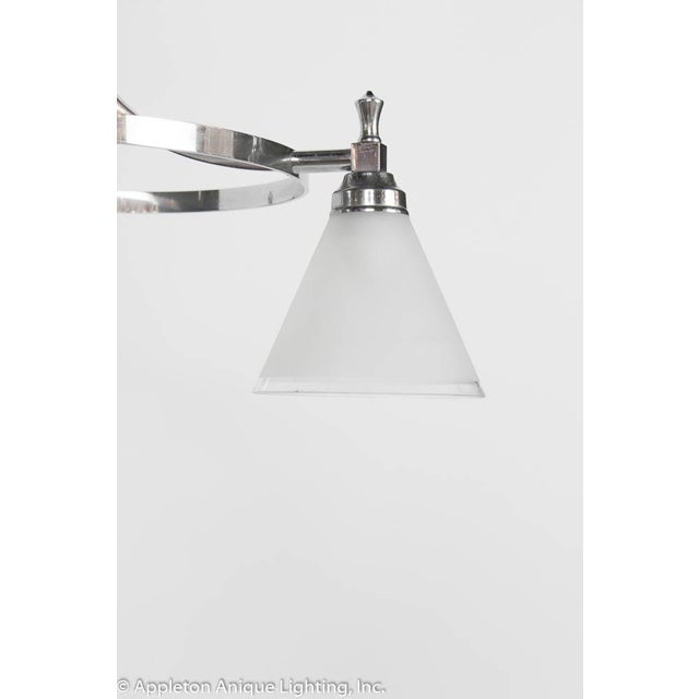 Restored Art Deco Three Light Chrome Chandelier For Sale - Image 4 of 9