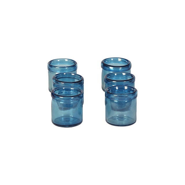 Hand-Blown Blue Glass Votive Holders - Set of 6 - Image 1 of 5