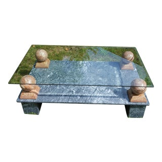 Portuguese Marble & Glass Coffee Table