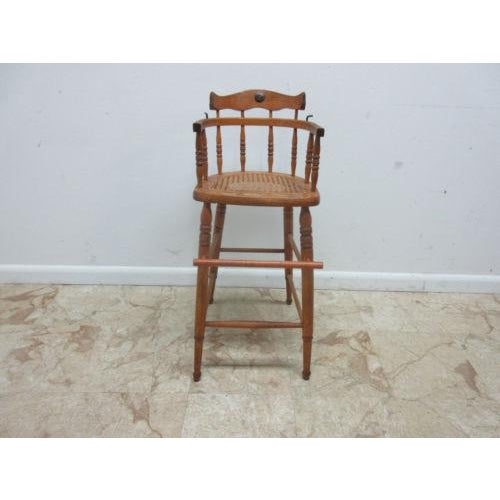 Antique Tiger Oak Bent Wood High Chair For Sale - Image 11 of 11 - Antique Tiger Oak Bent Wood High Chair Chairish