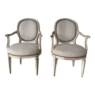 19th Century Vintage Italian Painted Chairs- a Pair For Sale