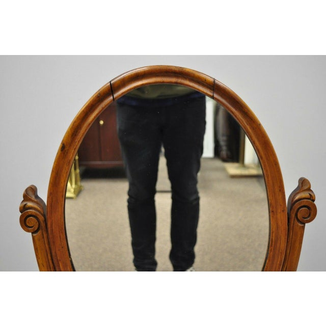 Victorian Antique Cheval Style Walnut Oval Mirror Lift Top Shaving Vanity Mirror For Sale - Image 3 of 12