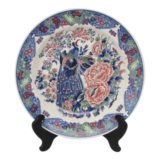 Large Japanese Plate, on Stand For Sale