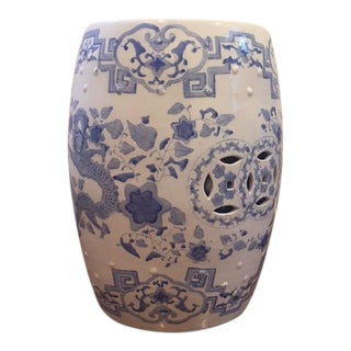 Vintage Ceramic Chinoiserie Blue and White Garden Stool