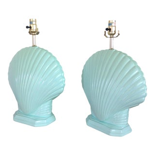 Light Aqua Clam Shell Table Lamps - a Pair For Sale
