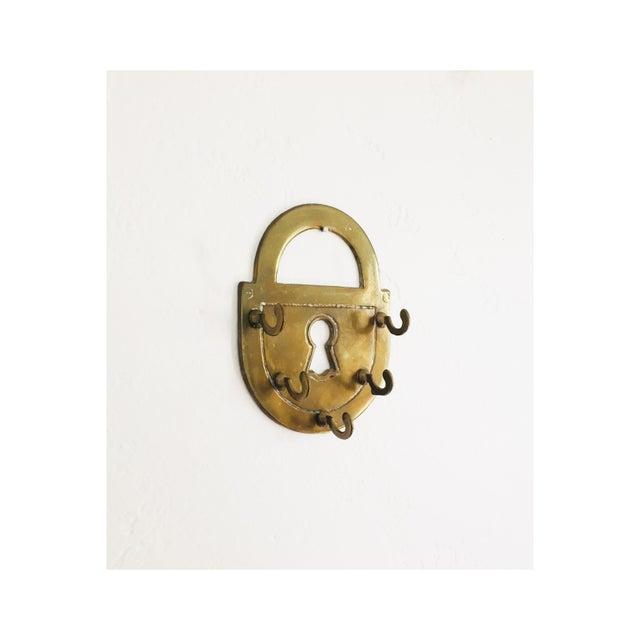 Vintage Brass Lock Key Rack For Sale - Image 4 of 4