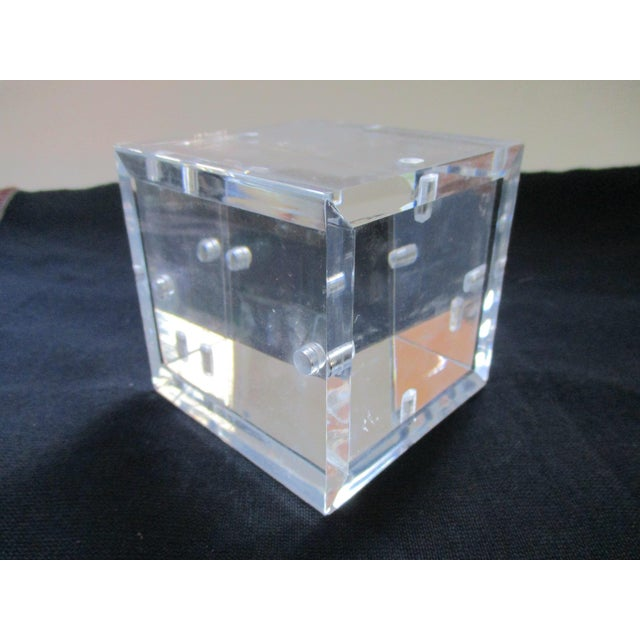 Lucite Cube Paperweight Picture Frame - Image 8 of 9