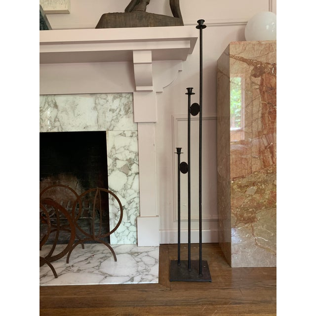 Contemporary 1980s Post Modern Iron Large Scale Floor Candelabra For Sale - Image 3 of 5