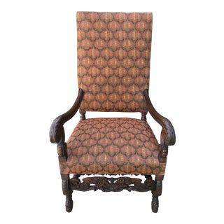 19th Century Vintage French Renaissance Upholstered Carved Walnut Throne Arm Chair For Sale
