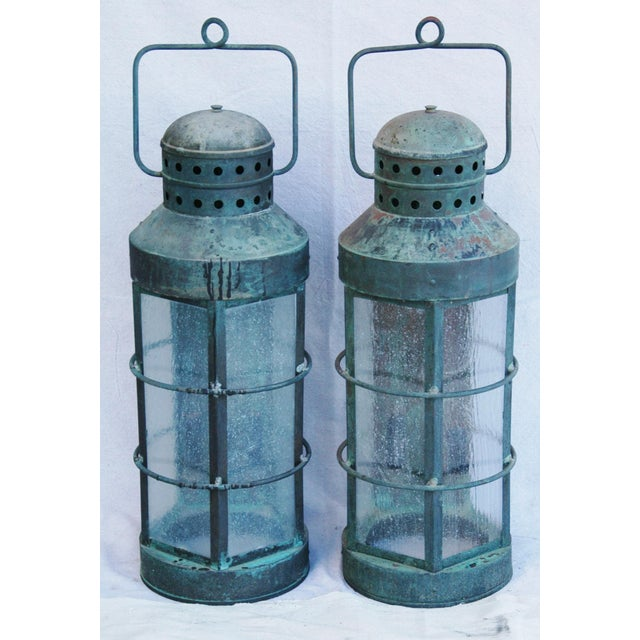 Nautical Copper Lantern Wall Sconces- A Pair - Image 3 of 12