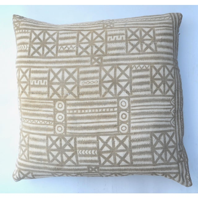 Vintage Traditional Mud Cloth Pillow Pair 24 X 24 For Sale - Image 4 of 7