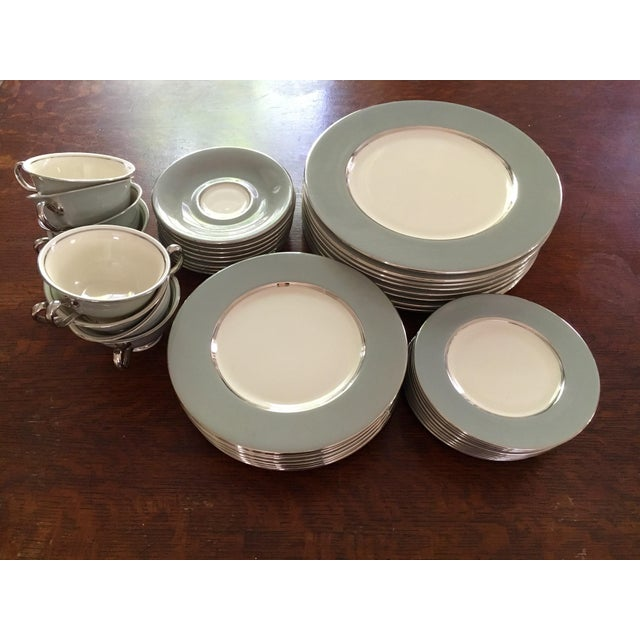 Mid-century Castleton Lyric Pattern china, complete 5-piece set, features white and pearl gray with platinum trim. Made in...