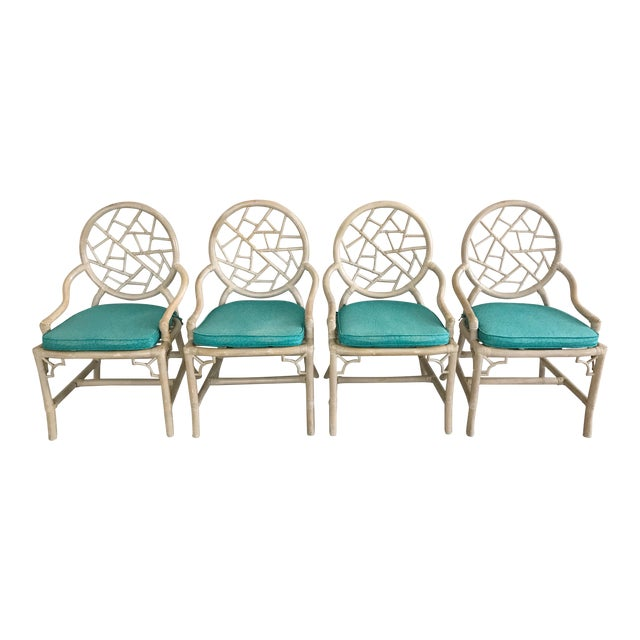Vintage McGuire Cracked Ice Rattan Chairs - Set of 4 For Sale