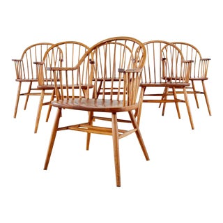 Set of Six Claud Bunyard American Windsor Dining Armchairs For Sale