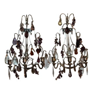 19th Century Maison Bagues Silver-plated Bronze 3 Candle Light Murano Glass Fruit Sconces - a Pair For Sale