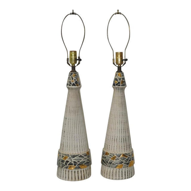 Mid-Century Glazed Ceramic Table Lamps - A Pair - Image 1 of 4