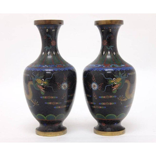 Mid 20th Century 20th Century Asian Antique Cloisonne Vases Featuring Colorful Dragons - a Pair For Sale - Image 5 of 6