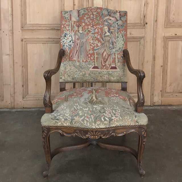 French 19th Century French Louis XV Armchair With Tapestry For Sale - Image 3 of 13