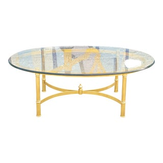 70s Italian Brass and Glass Coffee Table For Sale