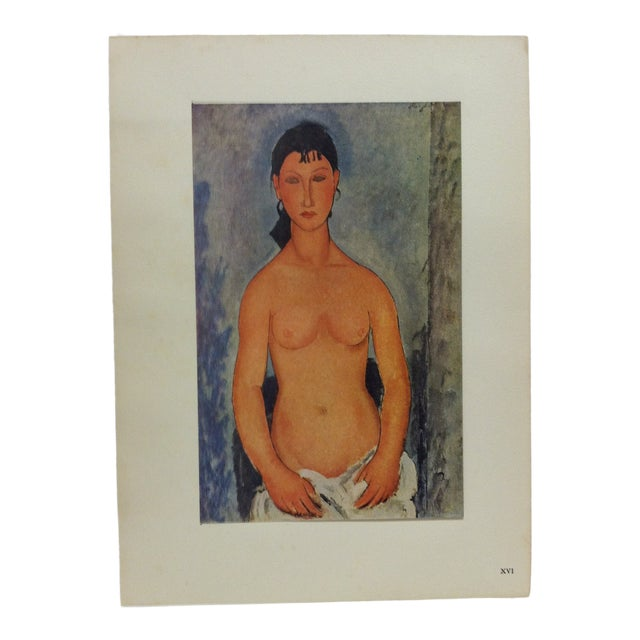 "1947 Vintage ""Elvire Nue"" Modigliani French Mounted Color Print For Sale"