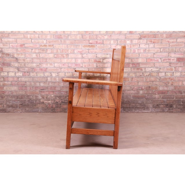 Antique Stickley Style Arts & Crafts Solid Oak Settle or Bench For Sale - Image 10 of 13