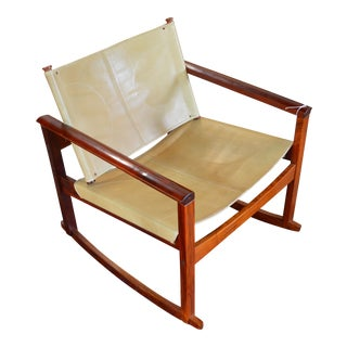 Mid-Century Modern Leather Rocking Chair by Michel Arnoult For Sale