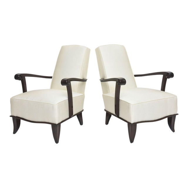 Jean Pascaud Pair of French Modern Rosewood and Upholstered Armchairs, 1940s For Sale