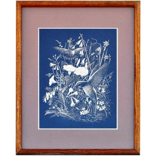 Paul M. Breeden Hummingbirds Drinking Nectar Gold Foil Etching For Sale