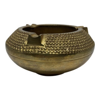 Vintage Textured Brass Ashtray Catchall For Sale