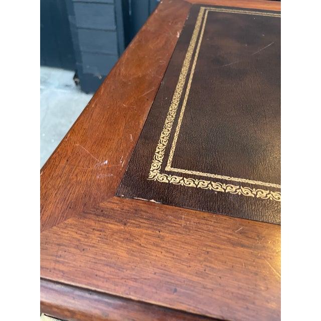 Brown Vintage Lane Altavista Mahogany, Brass, Leather Desk For Sale - Image 8 of 9