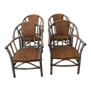 Faux Bois and Woven Rattan Captain Style Dining Chairs -Set of 4 For Sale