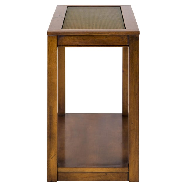 Vintage Caned Top Parsons Console Table For Sale - Image 4 of 8