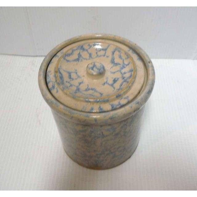 Rare 19thc Spongeware Pottery Cookie Jar For Sale - Image 4 of 6