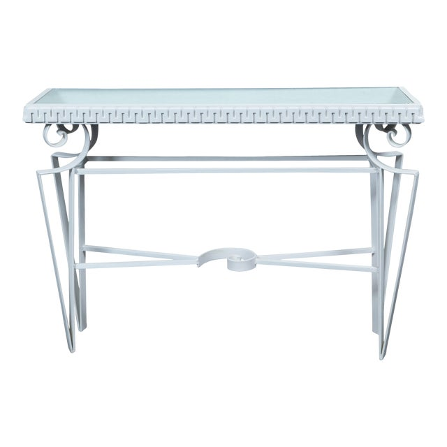 Dorothy Draper Style Wrought Iron Console For Sale