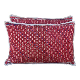 Cotton Woven Hmong Red Pillows - A Pair For Sale