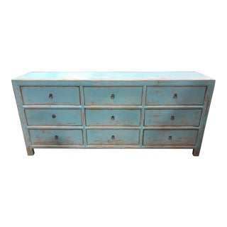 Asian Distressed Blue 9 Drawer Dresser For Sale