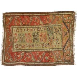 Distressed Antique Turkish Oushak Accent Rug - 4'1 X 5'4 For Sale