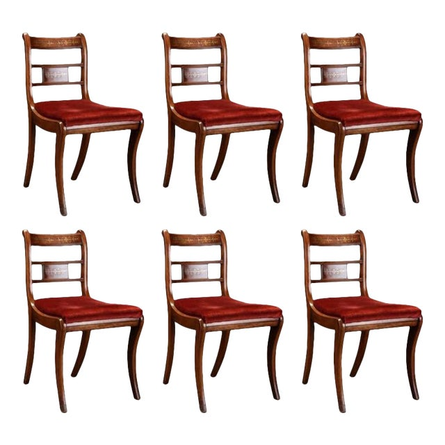 English Rosewood & Mahogany Chairs - Set of 6 For Sale