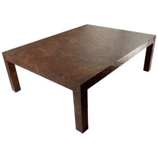 1970s Faux Metal Brutalist Parsons Coffee Table For Sale