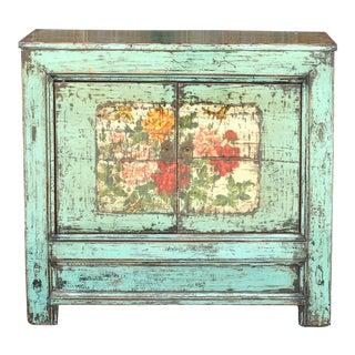 Lacquered Aqua Tansu Floral Cabinet For Sale